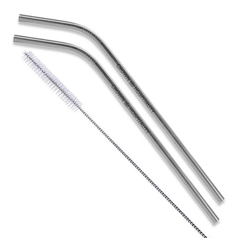 Silver Stainless Steel Bent Straws - Set of 2