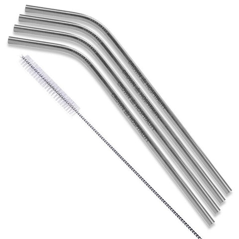 Silver Stainless Steel Bent Straws - Set of 4