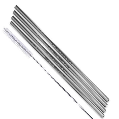 Silver Stainless Steel Straight Straws - Set of 4