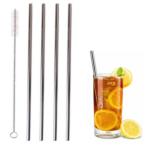 Stainless Steel Straight Straws - Set of 4
