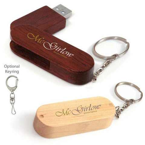 Bullet Bamboo Key Ring Flash Drive - 16 GB