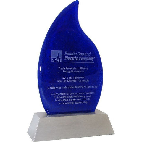 Flame Glass Award on Aluminum Base