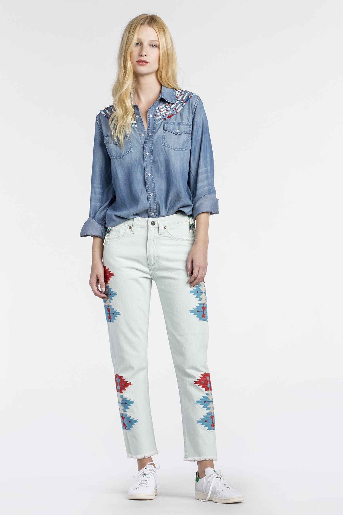 Imperial Denim Button-Up Top