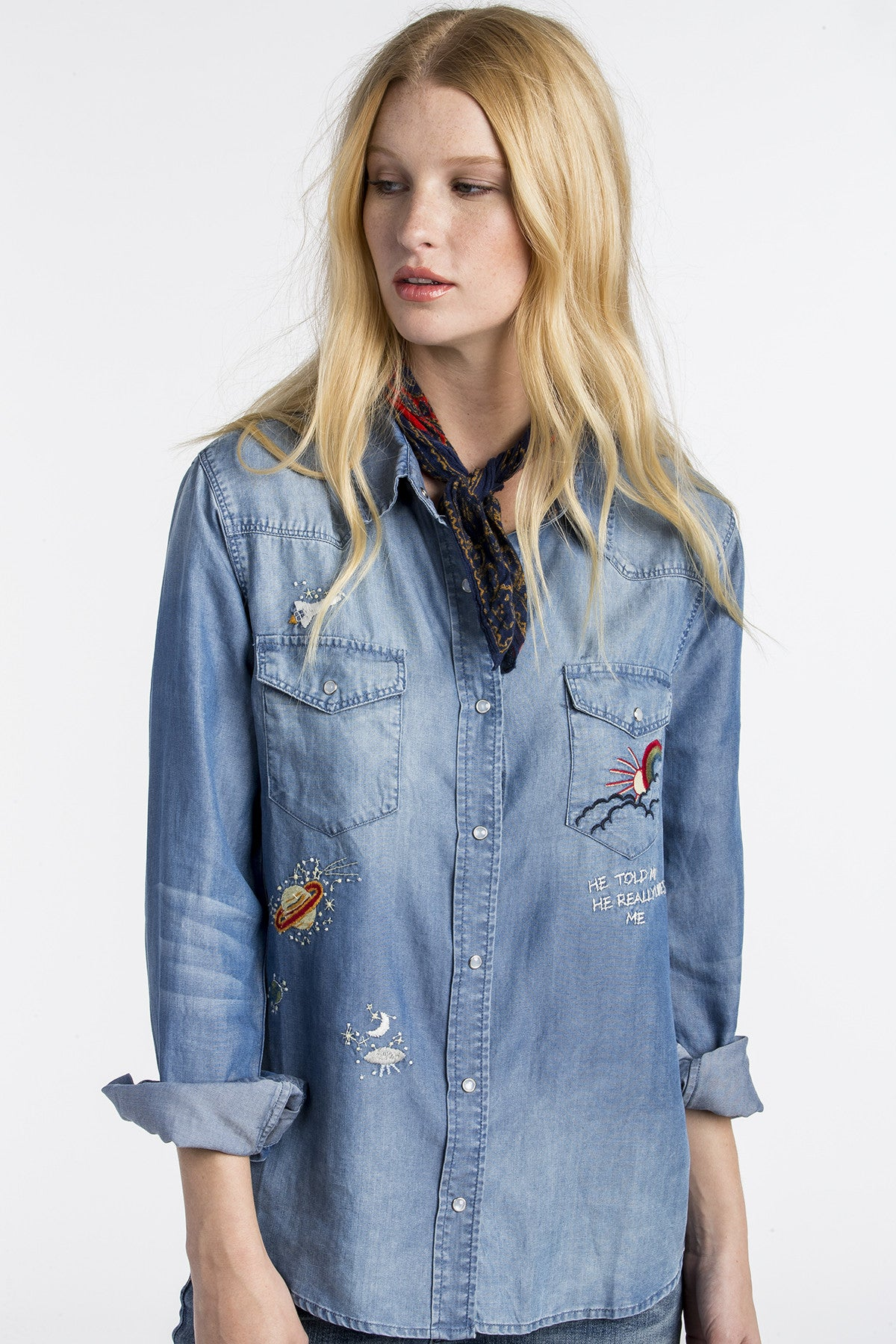 Out Of This World Denim Top