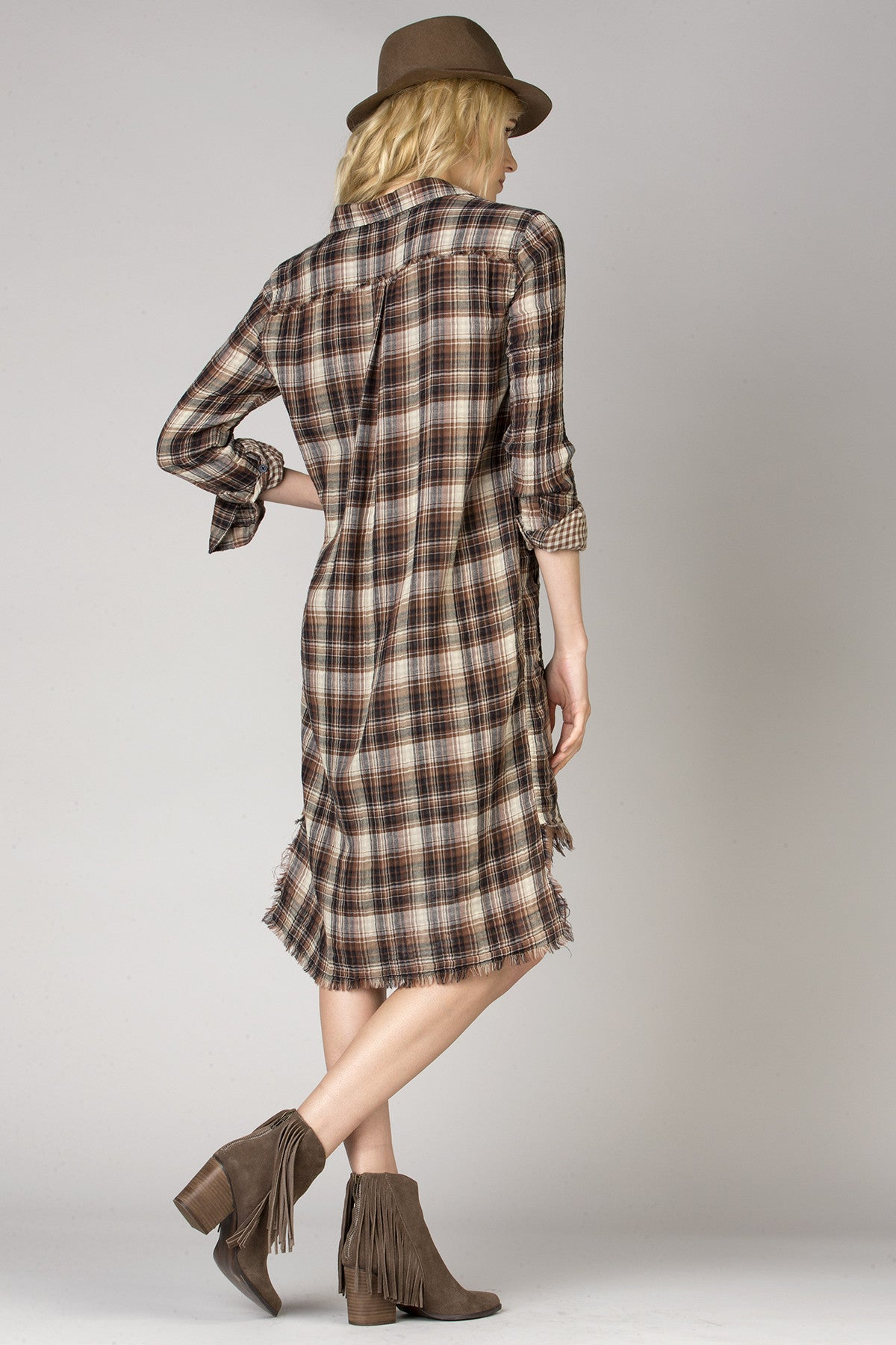 Autumn Trails Plaid Shirt Dress