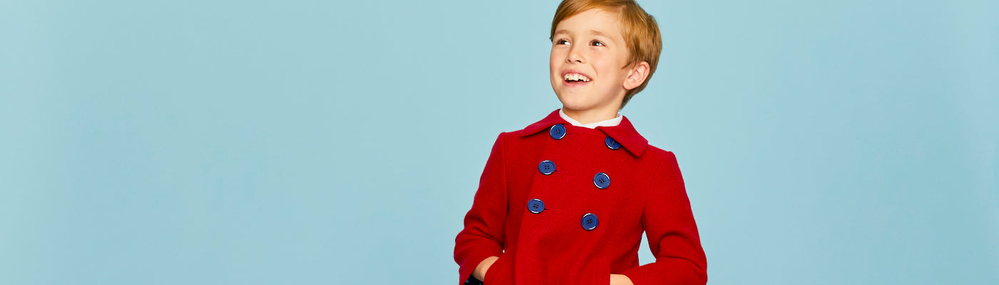 Boys pea coats by Britannical luxury children's coats luxury kids coats luxury children's clothing made in Britain