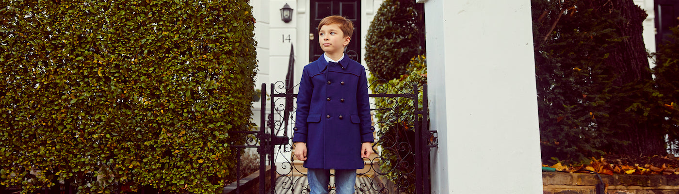 Boys pea coats by Britannical luxury children's coats luxury boys coats luxury kids coats luxury children's clothing made in Britain