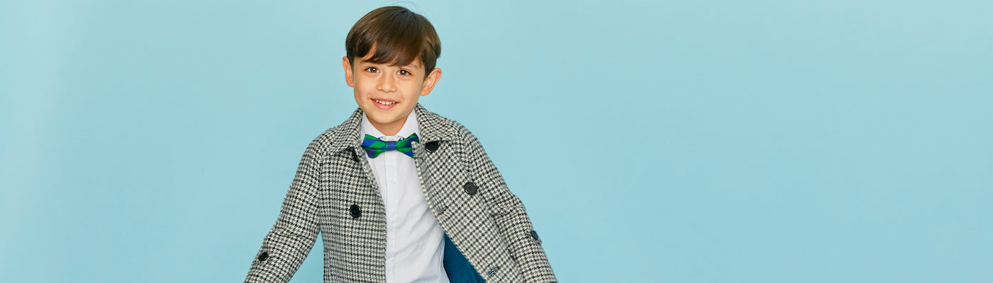 Children's bow ties by Britannical luxury children's coats luxury kids coats luxury children's clothing made in Britain