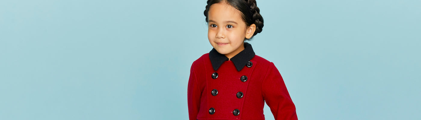 Britannical girls dress coat red wool luxury children's coats luxury kids coats luxury children's clothing made in britain