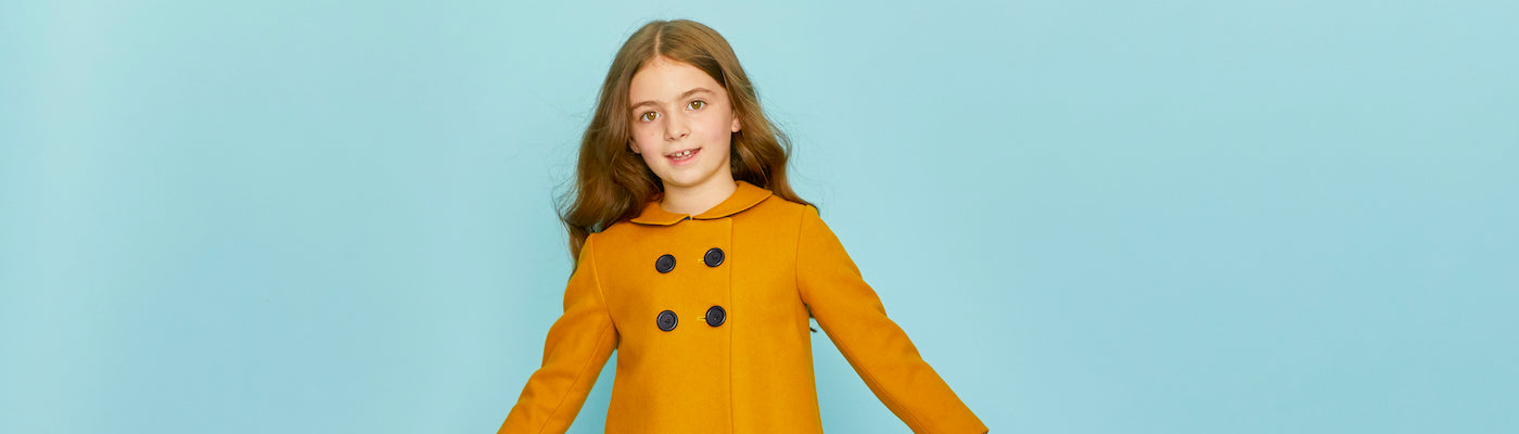 Girls pea coats by Britannical luxury children's coats luxury kids coats luxury children's clothing made in Britain