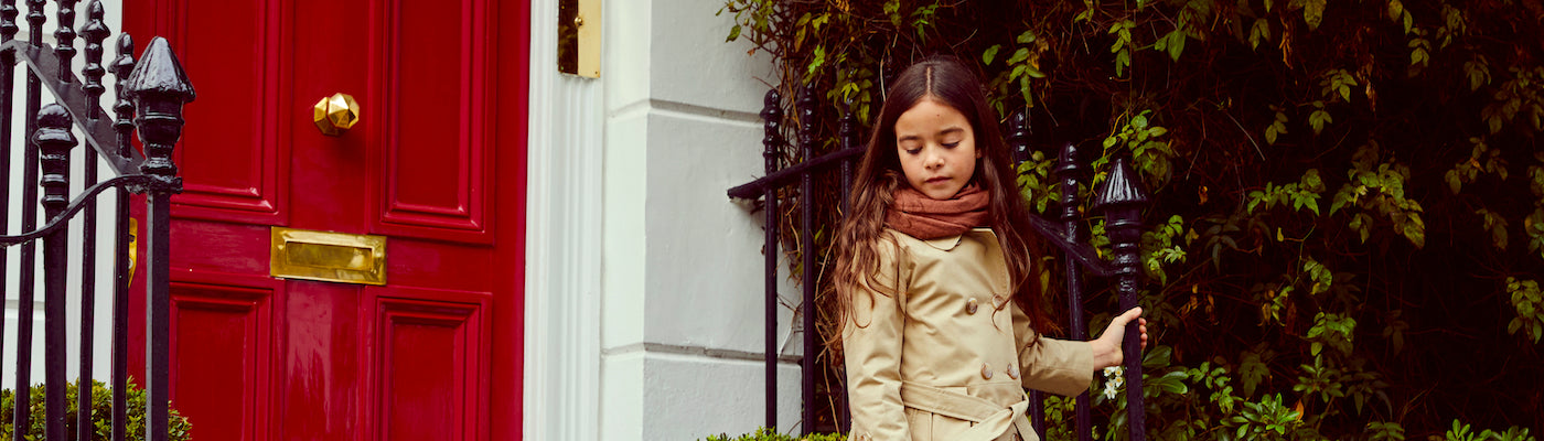 Girls trench coats by Britannical luxury children's coats luxury girls coats luxury kids coats luxury children's clothing made in Britain