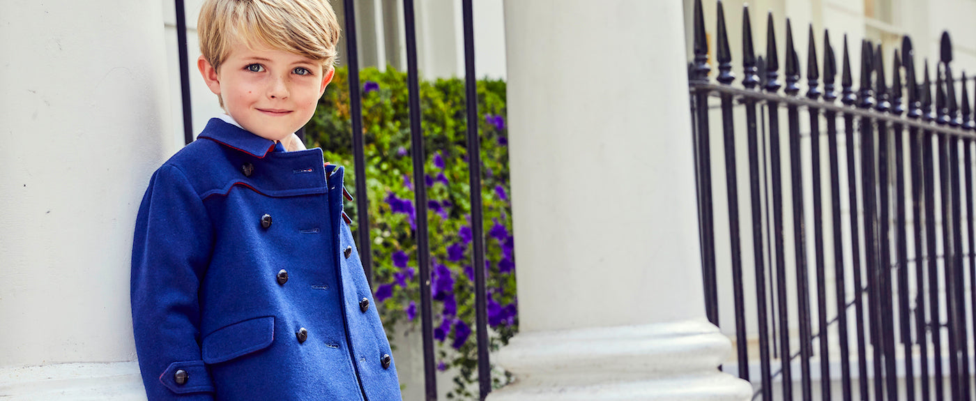 Britannical Luxury Children's clothing made in Britain boys coat Marylebone style