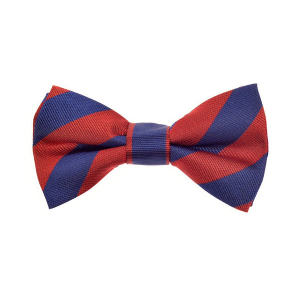THE GREAT BRITISH BABY COMPANY CHILD'S BOWTIE SILK RED BLUE STRIPES. LUXURY CHILDREN'S CLOTHING BRITISH MADE IN BRITAIN