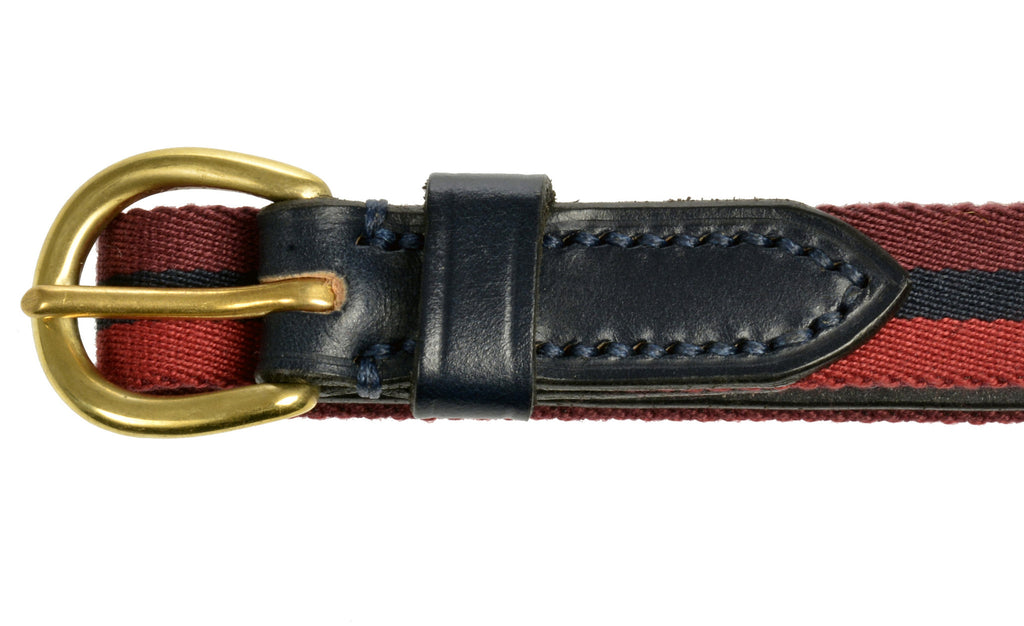 Child's leather belt blue striped by Britannical luxury children's clothing made in Britain