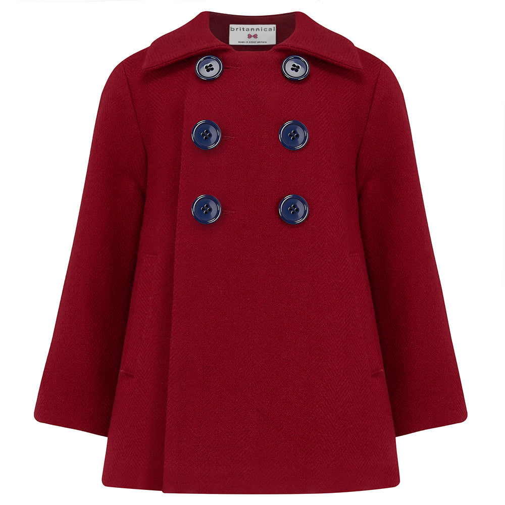 Boy's coat red wool Pimlico style by Britannical luxury children's clothing made in Britain