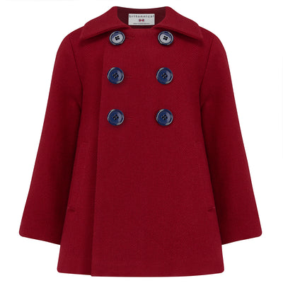 Boys coat pea coat red wool Pimlico style by Britannical luxury children's coats luxury kids coats luxury children's clothing made in Britain