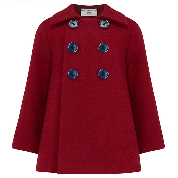 Boy's double breasted coat red wool Pimlico style by Britannical luxury children's coats luxury kids coats luxury children's clothing made in Britain