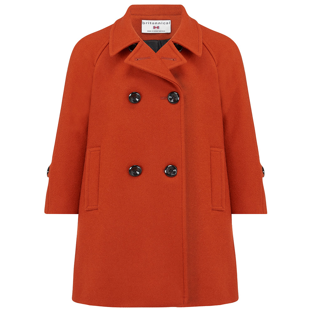 Girl's unisex child's reefer coat in burnt orange wool Clerkenwell style by Britannical luxury children's clothing made in Britain