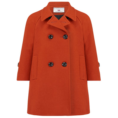 Girls coat burnt orange wool bridge coat Clerkenwell style by Britannical luxury children's coats luxury girls coats luxury kids coats luxury children's clothing made in Britain