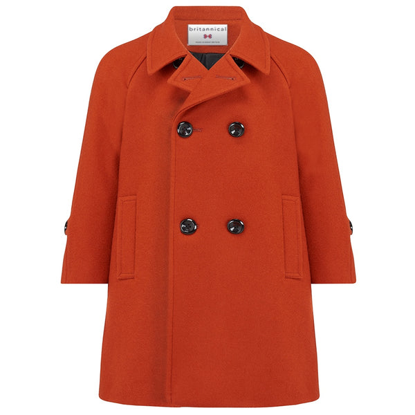 Boy's coat burnt orange wool reefer coat Clerkenwell style by Britannical luxury children's coats luxury kids coats luxury children's clothing made in Britain