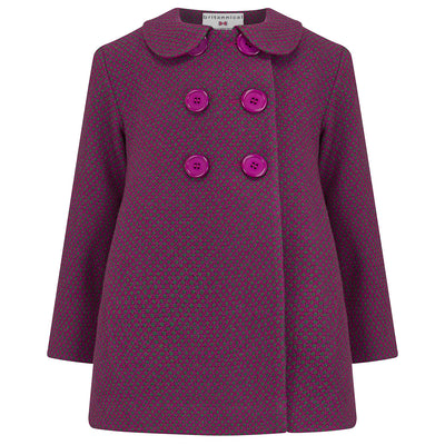Girls pea coat purple wool Bloomsbury style by Britannical luxury children's coats luxury kids coats luxury children's clothing made in Britain