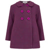 Girl's pea coat purple wool Bloomsbury style by Britannical luxury children's coats luxury kids coats luxury children's clothing made in Britain