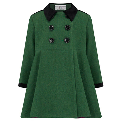 Girl's dress coat green wool Sandringham style by Britannical luxury children's coats luxury kids coats luxury children's clothing made in Britain