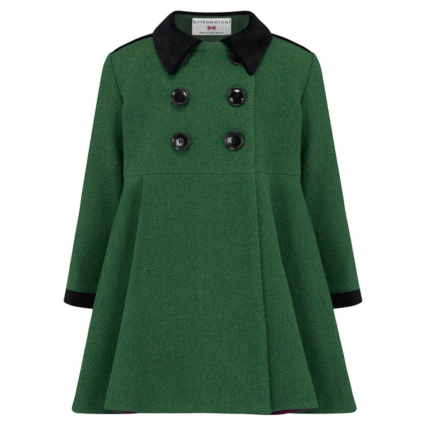 Child's dress coat green wool Sandringham style by Britannical luxury children's clothing made in Britain
