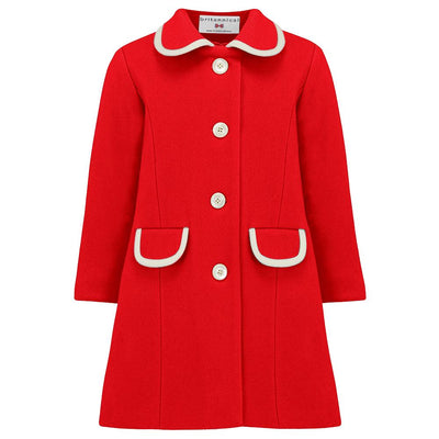Girls red coat wool 1950s Kensington style by Britannical luxury children's coats luxury kids coats luxury children's clothing traditional children's clothes made in Britain