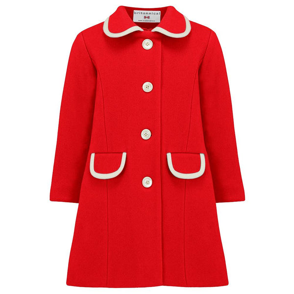 Girl's red coat wool 1950s Kensington style by Britannical luxury children's coats luxury kids coats luxury children's clothing made in Britain