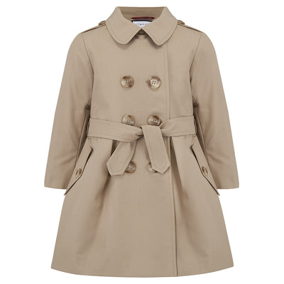 Girls trench coat classic beige Bayswater style by Britannical luxury children's coats luxury kids coats luxury children's clothing made in Britain