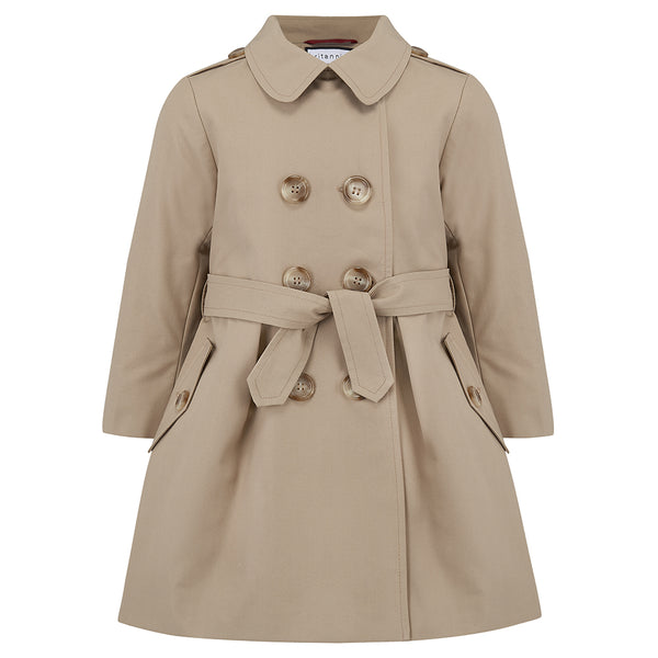 Girl's trench coat classic beige Bayswater style by Britannical luxury children's coats luxury kids coats luxury children's clothing made in Britain