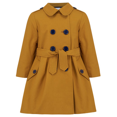 Girls trench coat mustard yellow Bayswater style by Britannical luxury children's coats luxury kids coats luxury children's clothing made in Britain