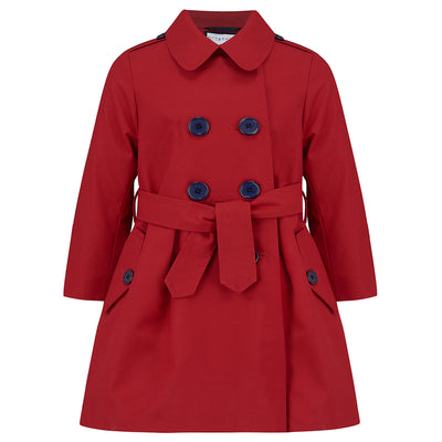 Girls trench coat red Bayswater style by Britannical luxury children's coats luxury girls coats luxury kids coats luxury children's clothing made in Britain