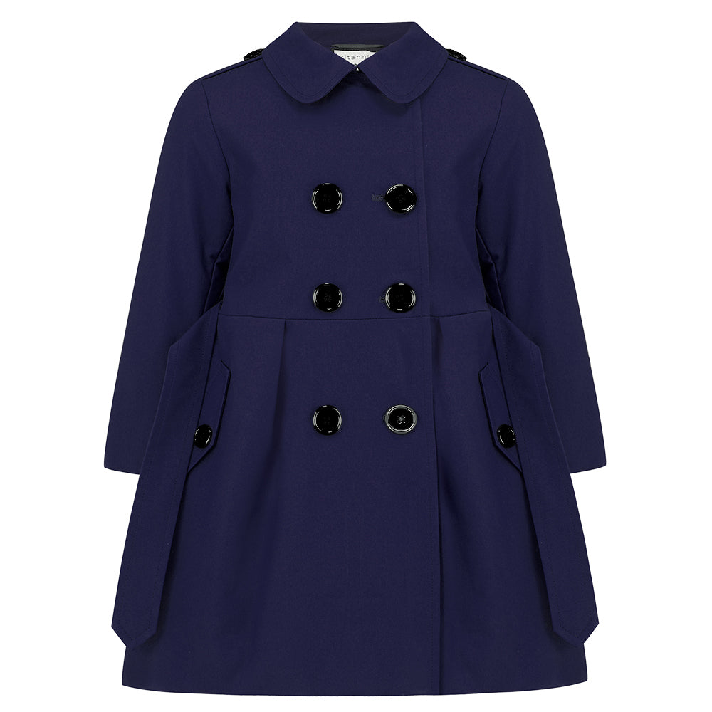 Britannical luxury children's clothing girls trenchcoat navy blue made in britain