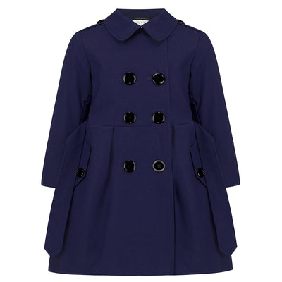 Girls trench coat blue cotton Bayswater style by Britannical luxury children's coats luxury girls coats luxury kids coats luxury children's clothing made in Britain