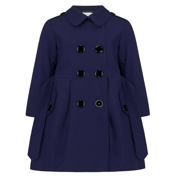 Britannical luxury children's clothing luxury children's coats luxury kids coats girls trenchcoat navy blue made in britain