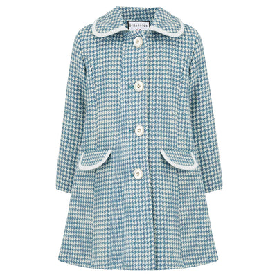 Girls coat blue wool houndstooth 1950s Chelsea style by Britannical luxury girls coats luxury children's coats luxury kids coats luxury children's clothing made in Britain
