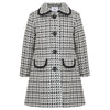 Girl's coat monochrome white black grey wool 1950s Kensington style by Britannical luxury children's coats luxury kids coats luxury children's clothing made in Britain