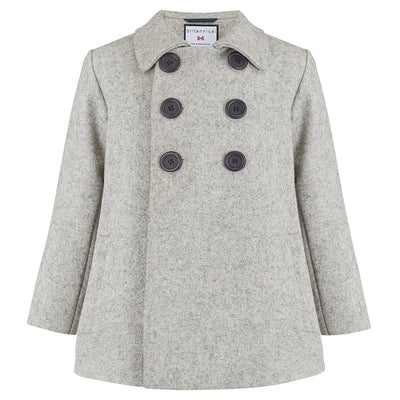 Boys coat pea coat light grey wool Pimlico style by Britannical luxury children's coats luxury boys coats luxury kids coats luxury children's clothing made in Britain