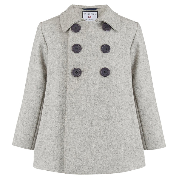 Boy's double breasted coat light grey wool Pimlico style by Britannical luxury children's coats luxury kids coats luxury children's clothing made in Britain