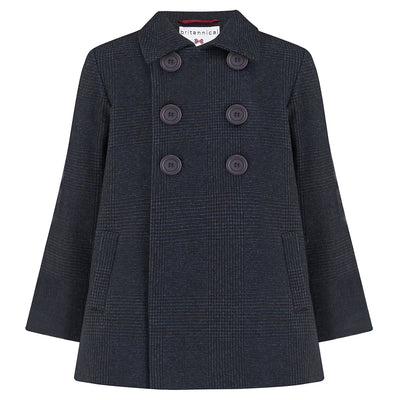 Boys coat pea coat navy blue wool Pimlico style by Britannical luxury children's coats luxury boys coats luxury kids coats luxury children's clothing made in Britain