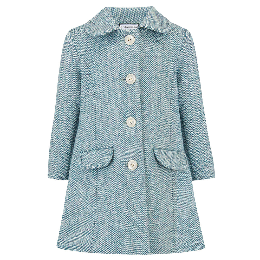 Girl's coat light blue wool 1950s Chelsea style by Britannical luxury children's coats luxury kids coats luxury children's clothing made in Britain