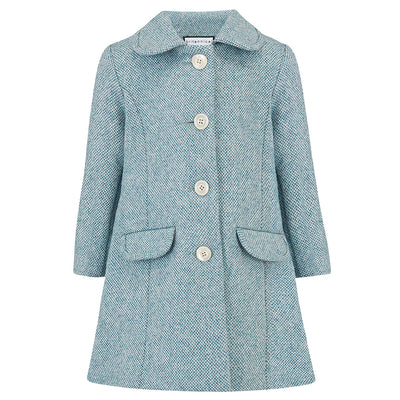 Girls coat light blue wool 1950s Chelsea style by Britannical luxury children's coats luxury kids coats luxury children's clothing made in Britain