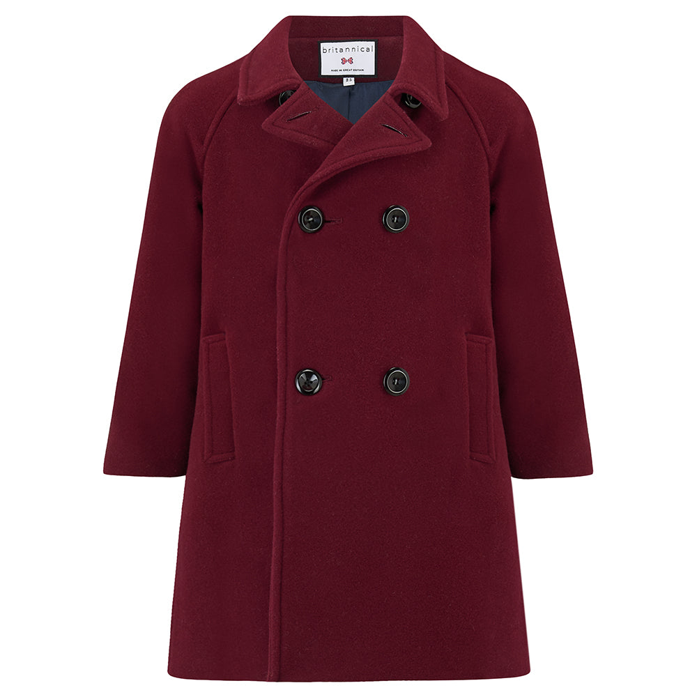 Boy's coat burgundy wool reefer coat Clerkenwell style by Britannical luxury children's coats luxury kids coats luxury children's clothing made in Britain