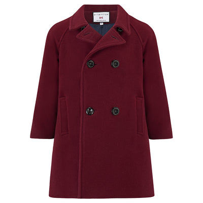Boys coat burgundy wool reefer coat Clerkenwell style by Britannical luxury children's coats luxury boys coats luxury kids coats luxury children's clothing made in Britain