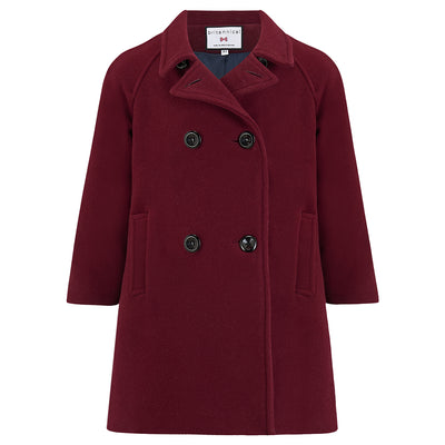 Girls coat burgundy wool reefer coat Clerkenwell style by Britannical luxury children's coats luxury girls coats luxury kids coats luxury children's clothing made in Britain