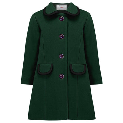 Girls coat dark green wool Kensington style by Britannical luxury children's coats luxury girls coats luxury kids coats luxury children's clothing made in Britain