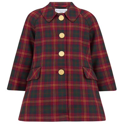 Britannical red tartan girls coat wool luxury children's coats  girls coats luxury children's clothing kids coats made in britain