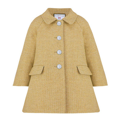 Girls yellow coat wool Islington style by Britannical luxury children's coats luxury girls coats luxury kids coats luxury children's clothing made in Britain